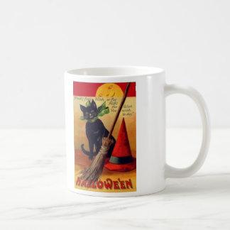Black Cat Broom Witch's Hat Full Moon Basic White Mug