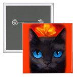 Black Cat Butterfly Painting Art - Multi Badges
