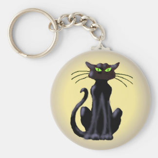 BLACK CAT by SHARON SHARPE Key Ring