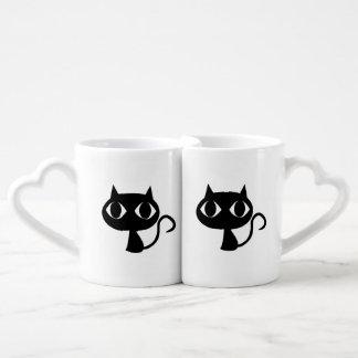 Black cat cartoon lovers mug sets
