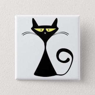 Black Cat Cartoon Silhouette 15 Cm Square Badge