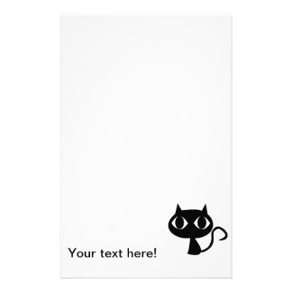 Black cat cartoon custom stationery