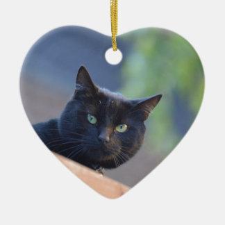 Black cat ceramic heart decoration