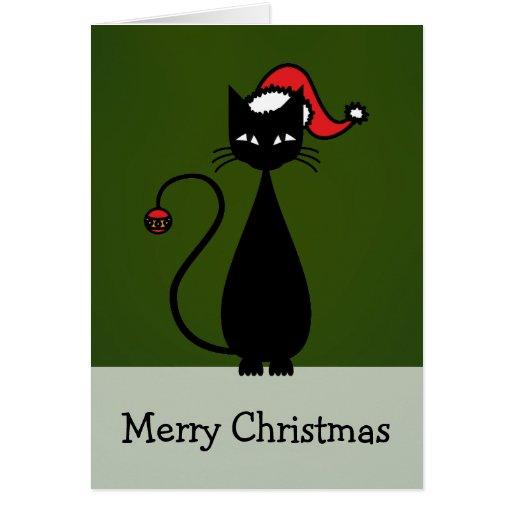 Black Cat Christmas Greeting Cards