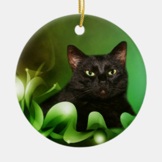 Black cat Christmas Round Ceramic Decoration