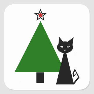 Black Cat Christmas Square Sticker