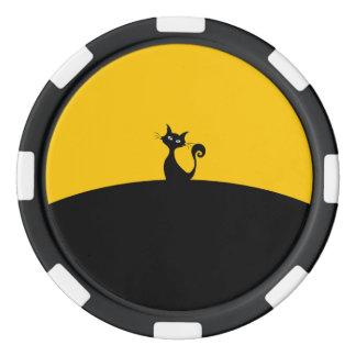 Black Cat Clay Poker Chips, Black Striped Edge Poker Chips