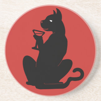 BLACK CAT COCKTAIL by Slipperywindow Coaster