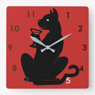 BLACK CAT COCKTAIL TIME by Slipperywindow Square Wall Clock