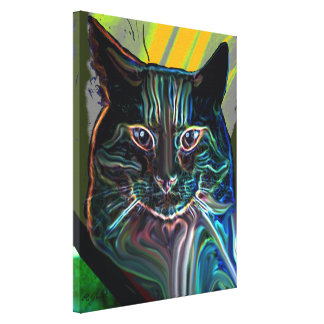 black cat colourful graphic design on canvas stretched canvas print