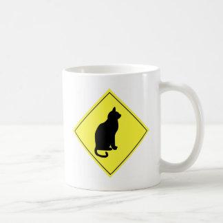 Black Cat Crossing Basic White Mug