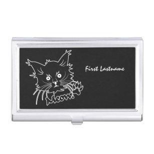 Black cat business card holders cases zazzle black cat custom business card holder reheart Gallery