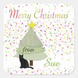 Black Cat Custom Christmas Gift Tag Stickers