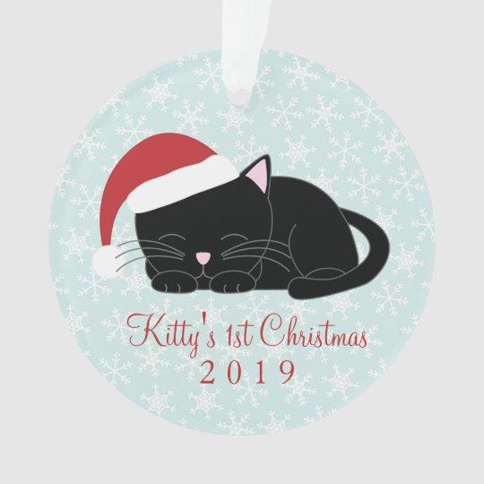 Black Cat Custom Christmas Ornament