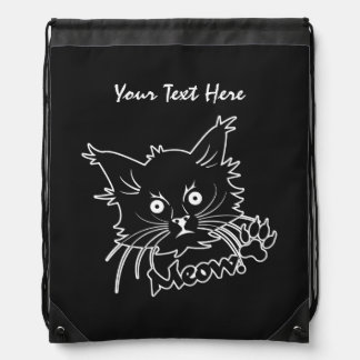 Black Cat custom daypack Drawstring Bag