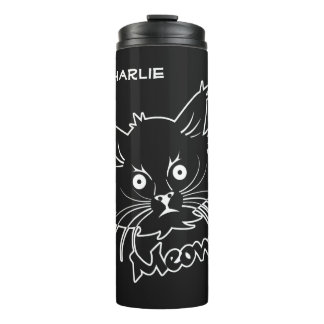 Black Cat custom name tumbler