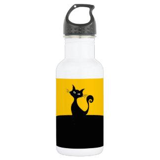 Black Cat Custom Water Bottle (18 oz), White