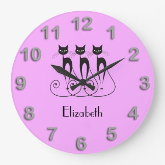 Black cat cute funny triplet large clock