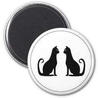 Black Cat Design 6 Cm Round Magnet