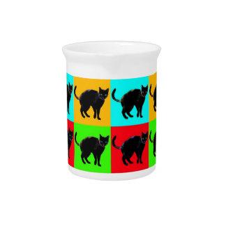 Black Cat Design Porcelain Pitcher