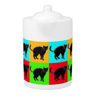 Black Cat Design Porcelain Teapot