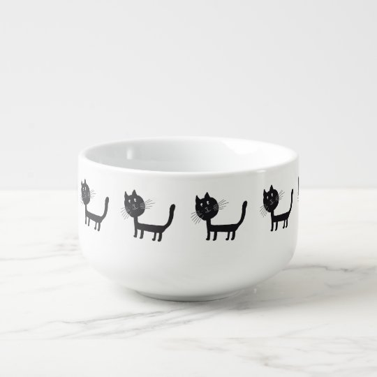 Black Cat Drawing Soup Mug