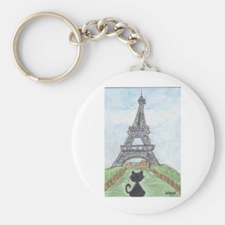 BLACK CAT EIFFEL TOWER BASIC ROUND BUTTON KEY RING