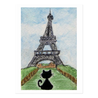 Black Cat Eiffel Tower Watercolour postcard