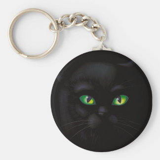 Black Cat Emerald Green Eyes Familiar Keychain