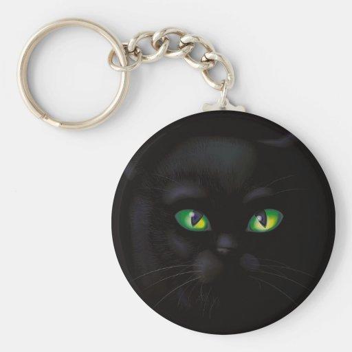 Black Cat Emerald Green Eyes Familiar Keychain