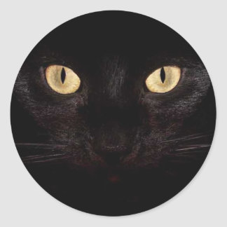 Black Cat Eyes Classic Round Sticker