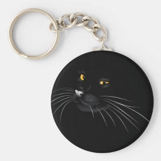Black cat face 4 basic round button keychain