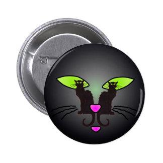 BLACK CAT FACE by SHARON SHARPE 6 Cm Round Badge