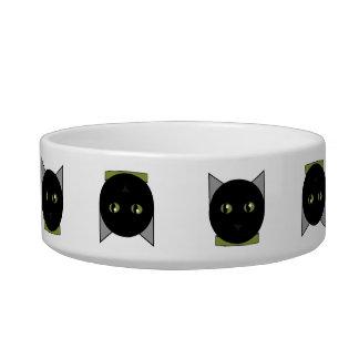 Black Cat Face Pattern Pet Dish