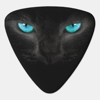 Black Cat Face with Turquoise Eyes Guitar Pick