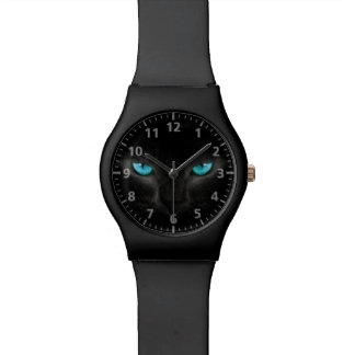 Black Cat Face with Turquoise Eyes Wristwatches