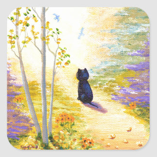 Black Cat Fall Autumn Leaves Creationarts Square Sticker