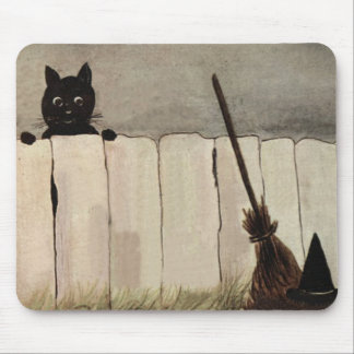 Black Cat Fence Witch s Broom Hat Mousepads