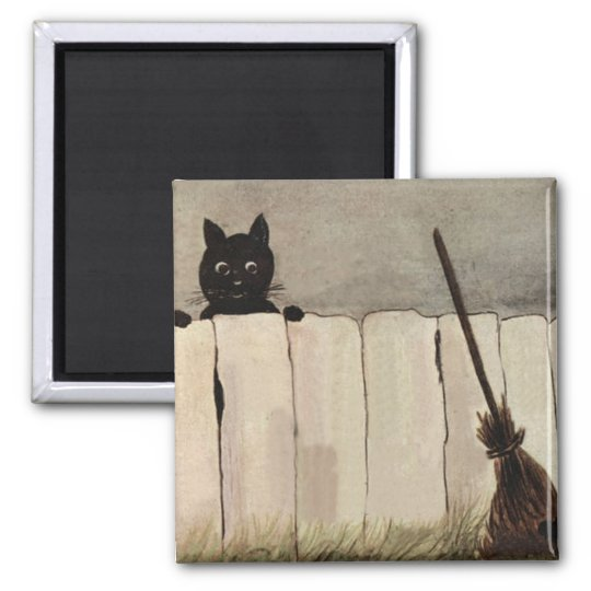 Black Cat Fence Witch's Broom Square Magnet