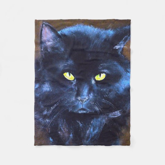 Black Cat Fleece Blankets