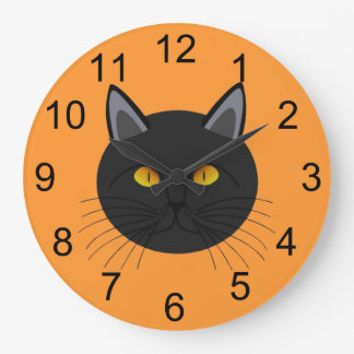 Black Cat for Halloween Wall Clock