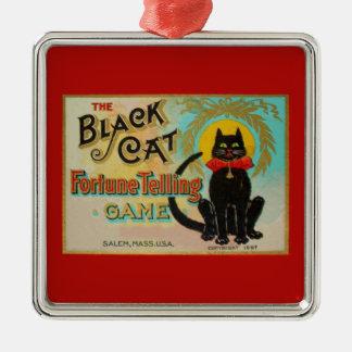 Black Cat Fortune Telling Game Silver-Colored Square Decoration