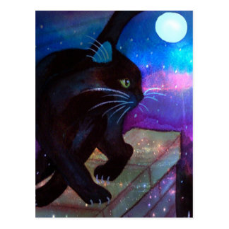 Black Cat Full Moon Postcard