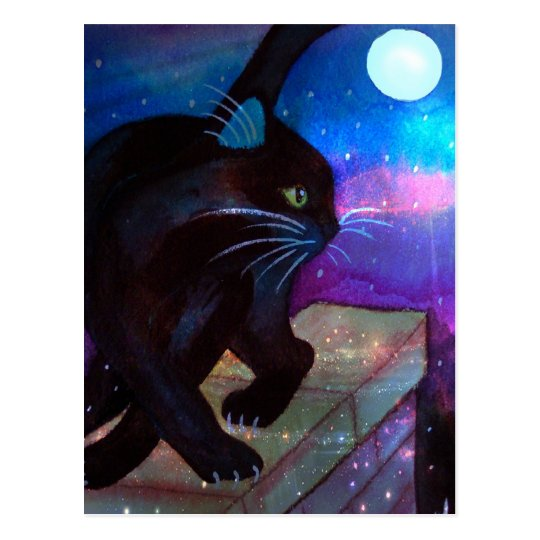 Black Cat Full Moon Postcard