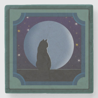 Black Cat, Full Moon, Stars Stone Coaster