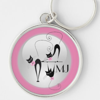 Black cat girly pink monogram key ring