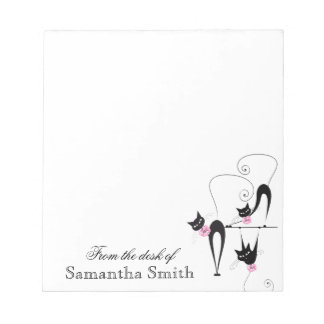 Black cat girly pink name PERSONALIZE Notepad