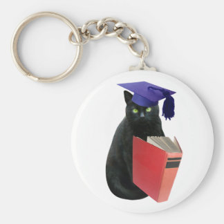 Black Cat Grad Basic Round Button Key Ring