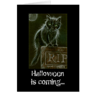 Black Cat Gravestone RIP Halloween is coming... Card