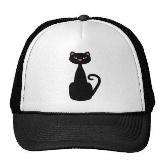 Black cat green eyes mesh hat